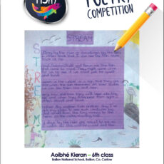 Poetry competition – 6th Class winner Aoibhe Kieran
